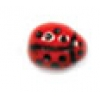 Glass Bead Ladybug 9X7mm Opaque Red Black Painted Strung